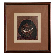 Kiyoshi Saito, Portrait Of A Girl, Woodcut
