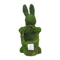 """Moss Standing Easter Rabbit Topiary Planter, 20"""""""