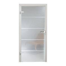"Interior Frameless Hinged Glass Door + Handles Lock Set, 36""x80"", Left"