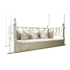 "Traditional Swing Bed, 33""x70"", With Mattress, Restful White, Rope Hanging Kit"