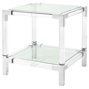 "Acrylic Side Table | Eichholtz Royalton, silver, 24""W x 24""D x 24""H"