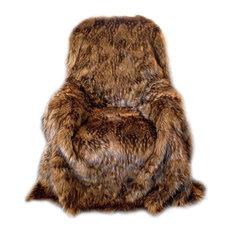 Brown Wolf Shag Faux Fur Throw Blanket, 5'x6'