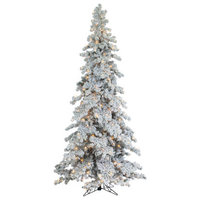 9' Heavily Flocked Layered Spruce With 750 Clear Lights