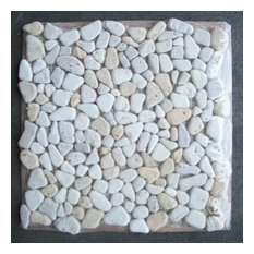 "12""x12"" Travertine Mix Giallo River Rocks Pebble Stone Mosaic Tile Tumbled"