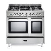 "Verona 36"" Dual Fuel Antique Single Oven Range, Stainless Steel, Double Oven"