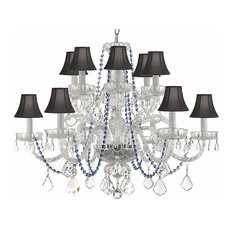 "Gallery T22-2267 12 Light 27"" Wide Crystal Chandelier with Blue Crystal Accents"