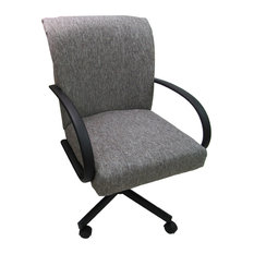 Swivel Caster Dining Chair On Wheels Mojave Gray Black
