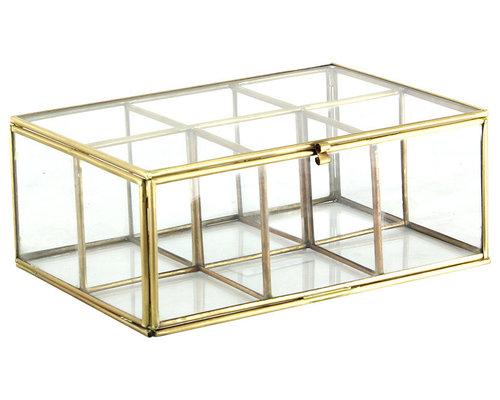 Glasbox 6 Fack Mässing - Smyckesskrin & -förvaring