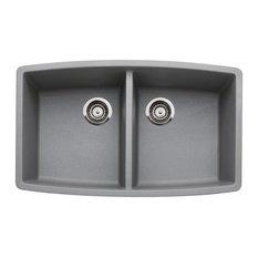 "Blanco 440072 20""x33"" Granite Double Undermount Kitchen Sink, Metallic Gray"