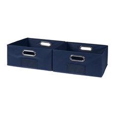 Cubo Set Of 2 Half-Size Foldable Fabric Storage Bins, Blue