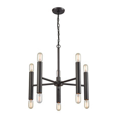 Mid-Century Modern 10 Light Chandelier in Oil Rubbed Bronze Finish