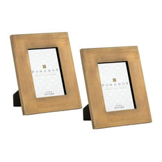 Brown Rectangular Picture Frame Set of 2 made of Glass/Iron Size - 10.5 inches