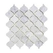 "12""x12"" Carrara White Arabesque Moroccan Lantern Mosaic Tiles, Set of 5, Honed"