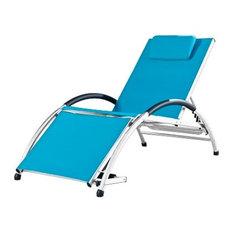 Vivere Dockside Adjustable White Frame Aluminum Sun Lounger, True Turquoise Slin