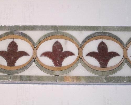 Fleur de Lis Multi-color Stone Border - Wall And Floor Tile