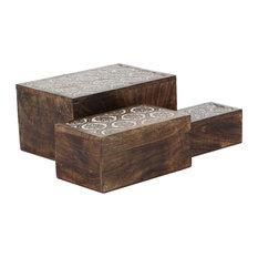 Rustic Carved Floral Design on Mango Wood Storage Boxes, 3-Piece Set