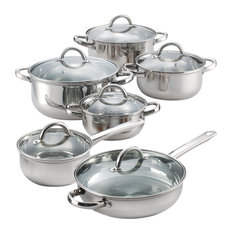 Cook N Home - Homer 12-Piece Stainless Steel Cookware Set - Cookware Sets