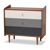 Mid Century Dresser, Tapered Legs and Spacious Drawers, Walnut Brown/Grey, 3 Dra
