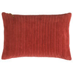 Company C - Breckenridge Pillow, Salsa, 14x20 - Inspired by the deep earth tones of the Arizona desert, Breckenridge comes in a myriad of glorious saturated colors, inviting you to make a cozy mountain of pillows to relax on. Super-soft-wide-wale corduroy encases a luxurious down and feather insert. The exposed zipper on the top of the pillow has a soft leather pull tab to complete the casual look.