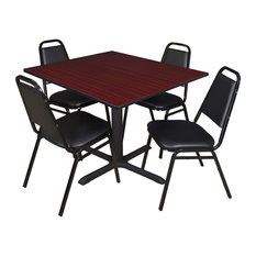 Cain 48-inch Square Breakroom Table- Mahogany & 4 Restaurant Stack Chairs- Black