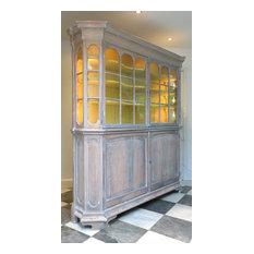 Large 19thC Limed Oak Glazed Display Cabinet / Dresser