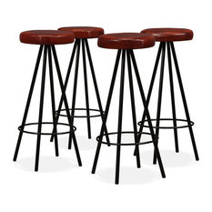 VidaXL 4x Bar Stools Genuine Leather Steel Bistro Pub Dining Chair Seating