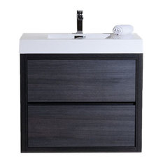 "Bliss 36"" Gray Oak Free Standing Modern Bathroom Vanity"