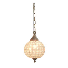 Crystal Ball Chandelier, Silver, Glass, Small