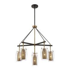 Savoy House Dunbar 6 Light Chandelier - Warm Brass w/ Bronze accents
