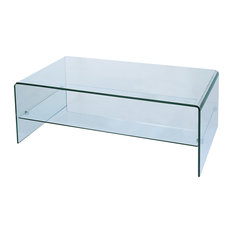 Bh Furniture   Waterfall Bent Glass Coffee Table With Storage Shelf   Coffee  Tables