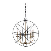 Canarm Summerside 5-Light Chain Chandelier, Black With Gold Finish