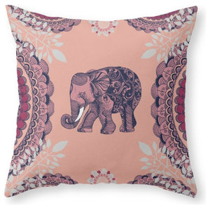 Bohemian Elephant Couch Throw Pillow - Cover (16  x 16 ) with pillow insert - In