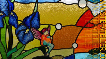 stained glass vitrail iris