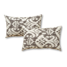 GREENDALE HOME FASHIONS - Rectangle Outdoor Accent Pillows, Set of Two, Graphite - Outdoor Cushions and Pillows