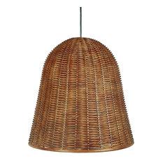 Handwoven Wicker Bell Pendant Lamp, Handwoven, Diameter 18 x 18 inch, Rustic Bro
