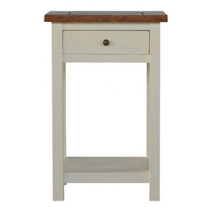 2 Toned Painted Wood Bedside Table with 1 Drawer and 1 Shelves
