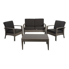 Florida Deluxe Gray 4-Piece Wicker Patio Conversation Set With Gray Cushions