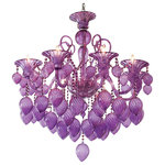 Cyan Design - Bella Vetro Chandelier - The Purple Chandelier makes an eye-catching focal piece in a dining room or entryway. Featuring dangling glass charms, curved arms, and scroll details, this royal purple glass chandelier is sophisticated and striking. UL Type: Dry, Bulb Type: B Type, Number of bulbs required: 8 (bulbs not included), Wattage: 60, Socket: Candelabra