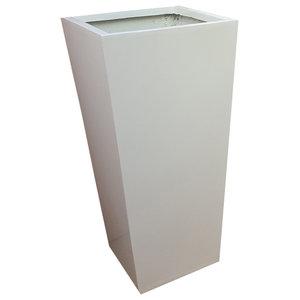 Glossy White Flared Square Fibreglass Planter, 35x35x70 cm