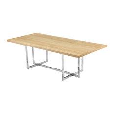 Mike Wood Veneer Dining Table With Metal Base 94.5-inch Oak/Chrome