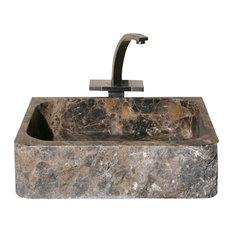 Rectangular Bathroom Sink, Emperador Dark Marble, Polished