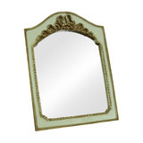 Gold Finish and Green Vintage Tabletop Vanity Mirror