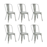 Industrial Style Metal Café Chair, Antique Silver, Set of 6