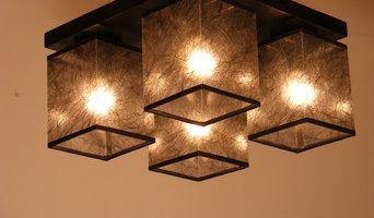 BASARI Ceiling Lights Wenge Brown Wood Four Dark Fabric Lamp Shades Big