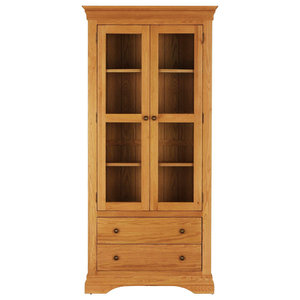 French Oak Double Glazed Display Cabinet With Drawers