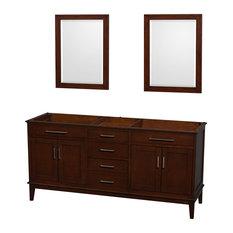 """Hatton 72"""" Dark Chestnut Double Bathroom Vanity, No Countertop, No Sink"""