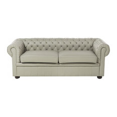 Chesterfield Leather Loveseat, Cappuccino