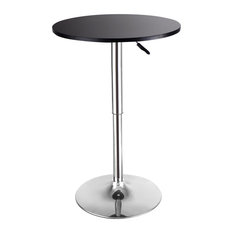 Costway Modern Round Bar Table Adjustable Bistro Pub Counter Wood Top Swivel