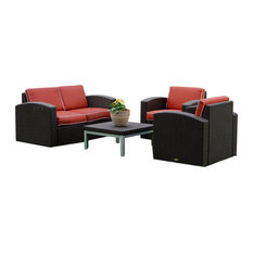 Loveseat, Two Chairs And Coffee Table Brown With Cajun Red Fabric