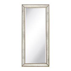 """Champagne Beveled Antique Wall Mirror, 1"""" Beveled Center, Wood Frame, 24""""x54"""""""
